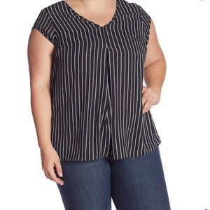 NWT Halogen double v-neck woven top blouse 3X